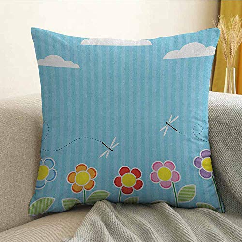 Dragonfly Pillowcase Hug Pillowcase Cushion Pillow Kids Playroom Children Floral Girls Daisy Blooms Under Cloudy Sky Cartoon Anti-Wrinkle Fading Anti-fouling W24 x L24 Inch Sky Blue White