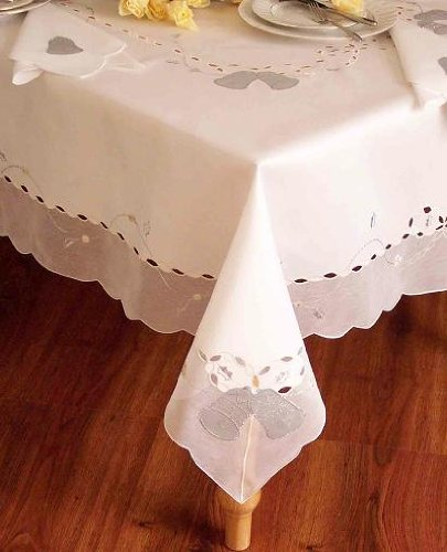 (Special Christmas White Silver Bell Table Cloth and Napkins, 36x36