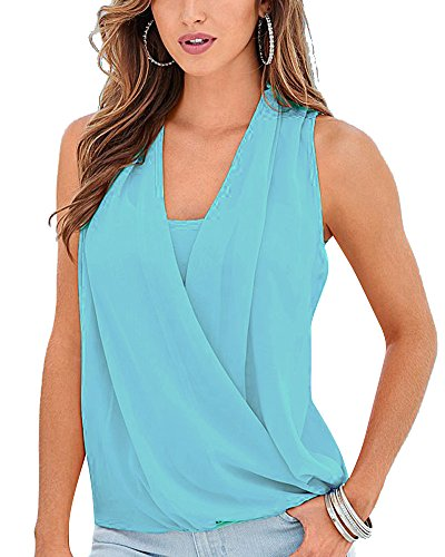 Scollo Senza Donna Colore Canotta Sciolto Chiffon Tops Solido V Elegante Casual Manica Azzurro chiaro 4wqw1fd