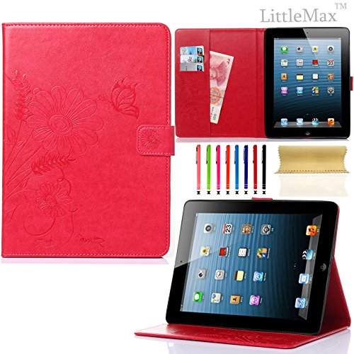 Pure Peony Series (iPad 4 Case,iPad 2 3 Case-LittleMax Smart Leather Case Embossed Butterfly&Flower Pure Color Series [Magnetic Closure] Stand Case with Card Holder for Apple iPad 2/3/4-#2Red)