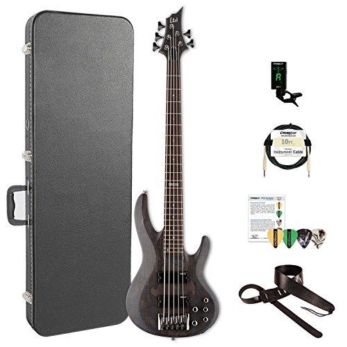 ESP LB205SMSTBLKS-KIT-2 B Series B-205SM 5-String Electric Bass Guitar, See Thru Black Satin by ESP