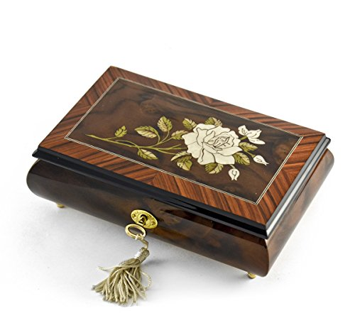 Exquisite Single Stem White Rose Musical Jewelry Box - Heaven is in Blue Hawaii (Paul Koy) - SWISS by MusicBoxAttic