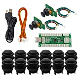 SJ@JX Arcade Game Controller 3D Gamepad Analog Stick SensorFly Joystick Matt Frosted Black Button USB Encoder Cable forPC MAME PS3 Android (Color: Kit)