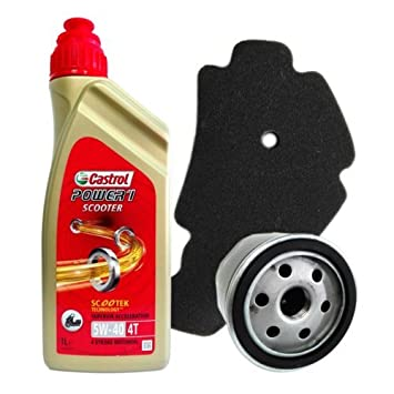 Kit Tagliando Castrol Power 1 Scooter 5 W40 Filtro Aceite Aire para Piaggio Beverly 500 2002/2004: Amazon.es: Coche y moto