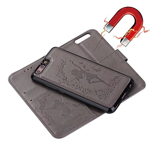 Wkae Detachable 2 in 1 Crazy Horse Texture PU Leather Case, Fairy Girl Embossed Pattern Flip Stand Case Pouch Cover with Lanyard & Card Cash Slots for Huawei P10 Plus (Color : Black) Gray