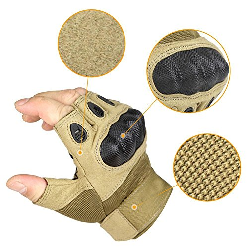 AV SUPPLY 1 Pair Anti-slip Half Finger Tactical Gloves Hard Knuckle and Foam Protection for Shooting Airsoft Hunting Cs War Game Gear Special Force Combat Shooting Gloves (Tan, Large)
