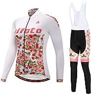 MILOTO Women's Cycling Fleece Jersey White Bib Pants Set Long Sleeve Biking S