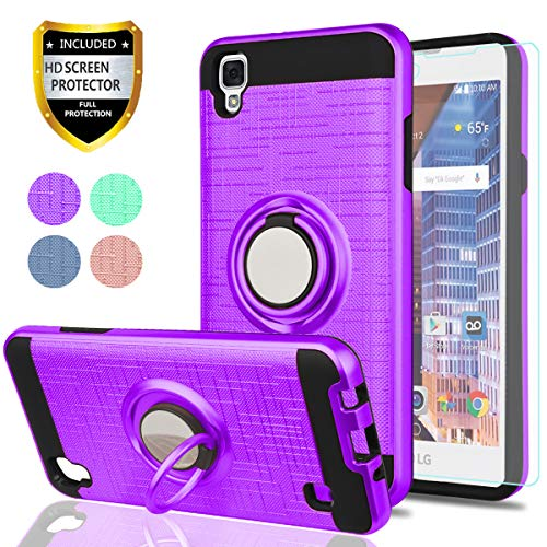 LG Tribute HD Case,LG X Style Case,LG Volt 3 Phone Cases with HD Phone Screen Protector,YmhxcY 360 Degree Rotating Ring & Bracket Dual Layer Resistant Back Cover for LG LS676-ZH Purple