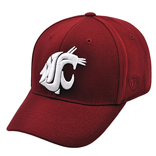 Washington State Cougars Fitted Cap - Top of the World NCAA-PAC 12 Conference-Premium Collection-OneFit-Memory Fit- Size: M/L-Washington State Cougars