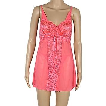 Regalo de Primavera Verano parejas ropa interior femenina kit pijama transparente ,rojo-YU&XIN