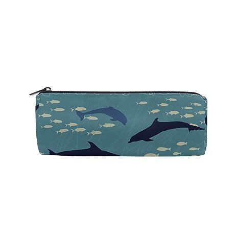 Estuche portatodo cilíndrico con forma de ballena delfín pecera marina bolsa de papelería con cremallera maquillaje
