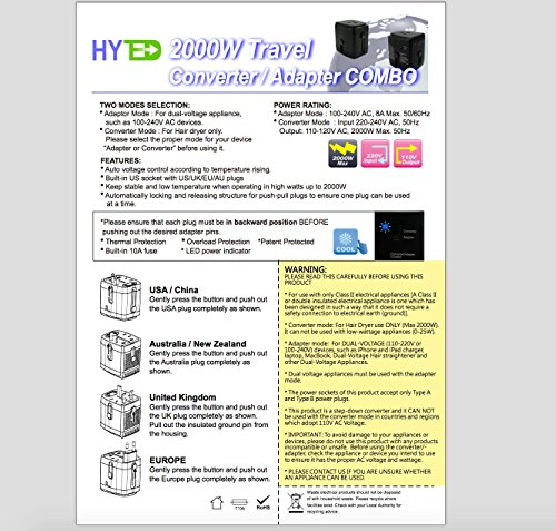 Hyted 2000watts Travel Adapter And Converter