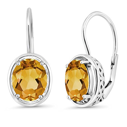 - Gem Stone King Sterling Silver Yellow Citrine Dangle Earrings 3.00 cttw Gemstone Birthstone Oval 9X7MM