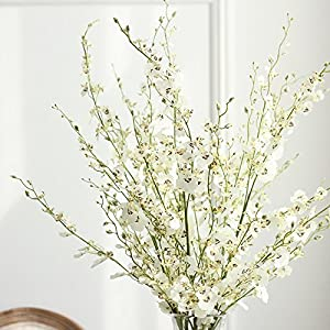 HuanhuaTC 8pcs Artificial Orchids Realistic Fake Flowers Arrangement for Home Party and Wedding Decor (White) 1