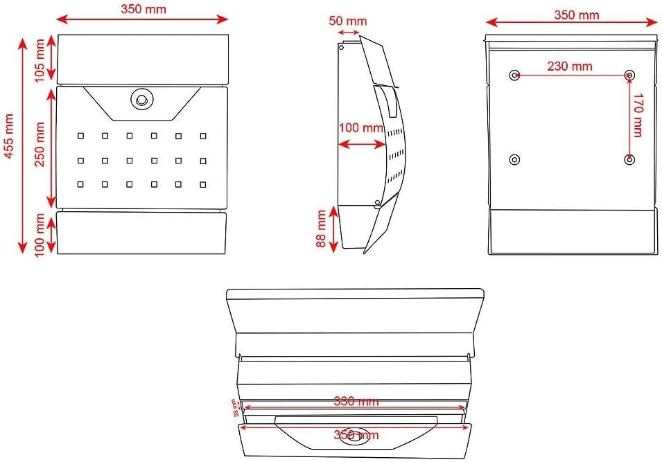 wetterfeste Rostschutzlackierung Melko Design Briefkasten halbrund mit Zeitungsbox Wandbriefkasten Schwarz mit Schutzklappe A4 Einwurf-Format