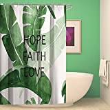 VISUNION Green Banana Leaf Shower Curtain Three Important Creed in Life:Faith Hope Love Life Incentive Statement Home Decor Polyester Fiber Bathroom Curtains 69 x 70 inch White Black Green
