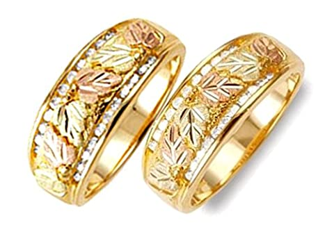 Diamond Bands, 10k Yellow Gold, 12k Green and Rose Gold Black Hills Gold Motif Couples Wedding Ring Set, - Black Hills White Gold Bands