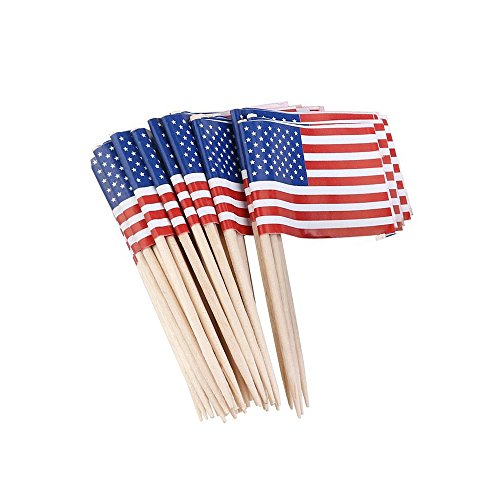 BinaryABC US Flag American Flag Picks, Food Toothpicks,Patriotic Fourth of July 4th of July Party Supplies 200Pcs]()