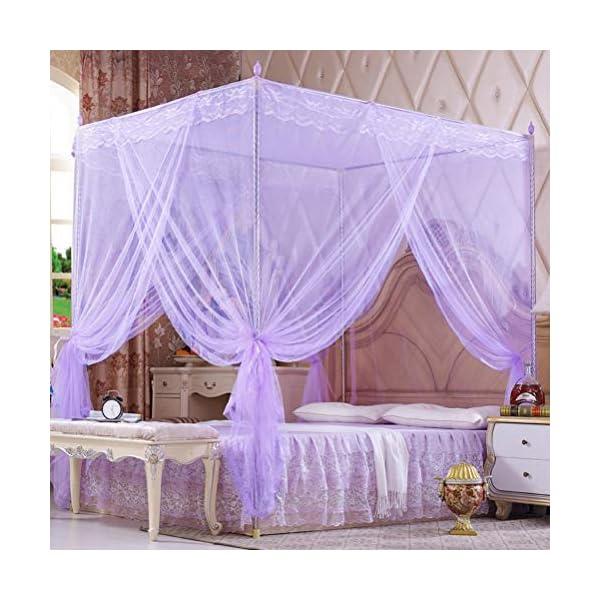 ZXYSR Princess Palace Bed Zanzariera, 3 Aperture Elegante Letto Baldacchino Reticolato Tende per Letto Decorazione della… 1 spesavip