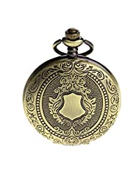 PACIFISTOR Men's Manual Mechanical Skeleton Analog Pocket Watch with Fob Chain,Gift box,Engraving Pendant
