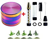 #7: Rainbow Glass grinder kit -Tobacco Grinder Herb Grinder Smoking Crusher for Herb Leaves ,Dry Herbs Paper with 4 x O-Rings,2 x Rubber Caps , x Small Cleaning Brush ,1x Big Cleaning Brush(grinder kit)