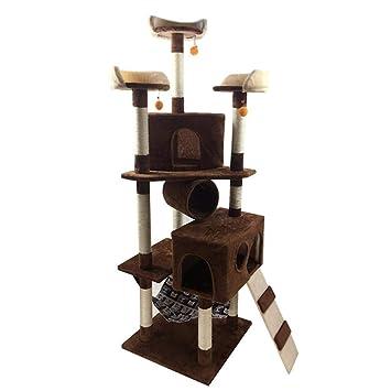 Dixinla Árbol Gatos Muebles de Juguete para Mascotas Gato agarra Consejo Villa Gato Nido Cama casa Escalera Placa/Cuerda/Franela 60 * 58 * 188 cm: ...