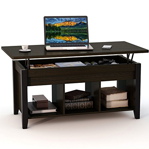 Tribesigns Lift Top Coffee Table with Hidden Storage Compartment and Lower Shelf for Living Room, Solid Wood Legs (Black Walnut) (Large Coffe Table)