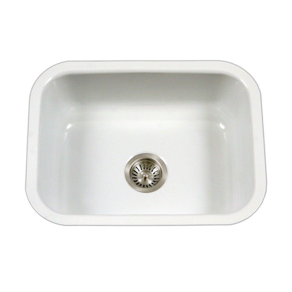 Houzer PCS-2500 WH Porcela Series Porcelain Enamel Steel Undermount Single Bowl Kitchen Sink, White Renewed