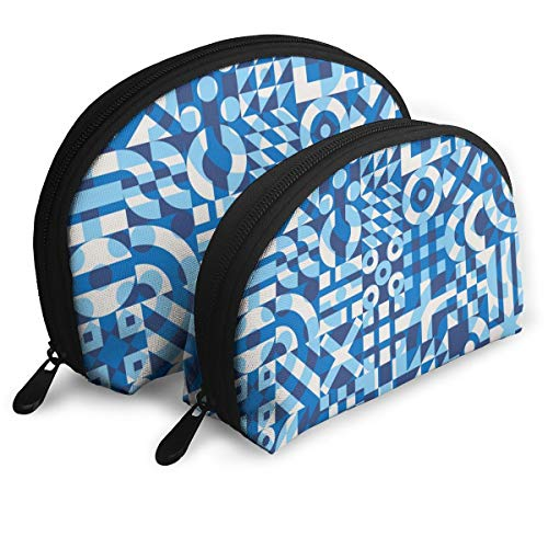 Eratdatd Customized Seamless Blue and White Irregularly Covered Shell Portable Zipper Bag?2 Bags?, Suitable for Women Cosmetics, Handbags/Handbags, Women -