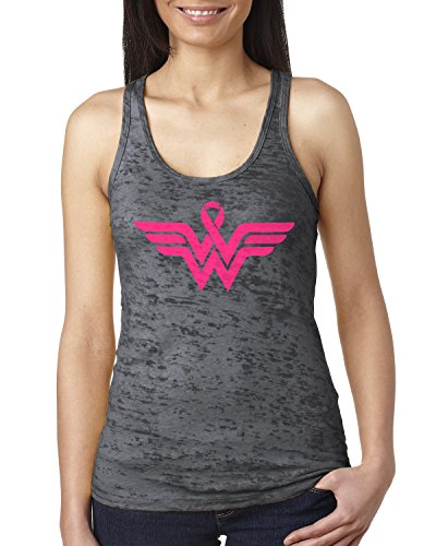 Breast Cancer Awareness Pink Ribbon Superhero Logo Ladies Burnout Tank Top Small Charcoal