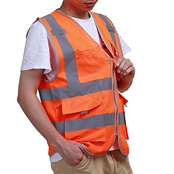 YiZYiF Safety Vest Reflective Zipper Protective Workwear Trimming Construction Motorcycle Traffic Running Emergency for Men Women (Medium, Neon Orange)