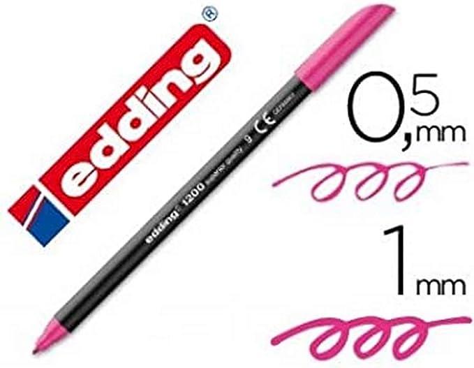Edding - Rotulador punta fibra 1200 rosa n.9 -punta redonda 0.5 mm (10 unidades): Amazon.es: Oficina y papelería