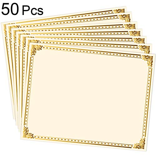 50 Sheets Blank Award Certificate Paper Gold Foil Metallic Border Certificate for Recognition Appreciation, Laser and Inkjet Printer Compatible, 11 x 8.5 Inches