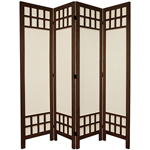 Oriental Furniture 5 1/2 ft. Tall Window Pane Fabric Room Divider - Burnt Brown - 4 - Oriental Wood Divider