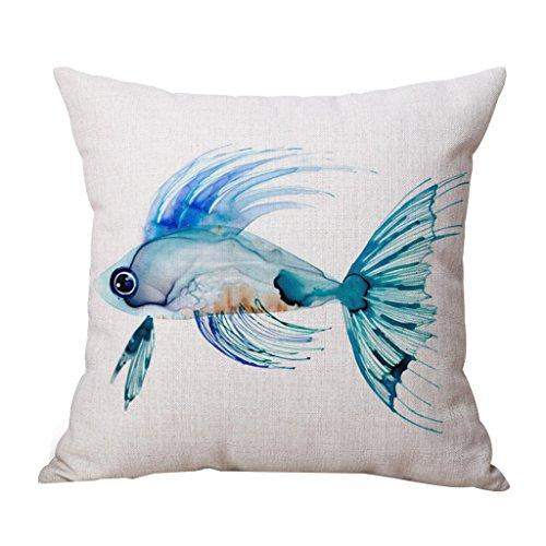 JES&MEDIS Pillow Case Linen Cotton Cushion Throw Pillow Cover Square Cute Pattern 18 x 18
