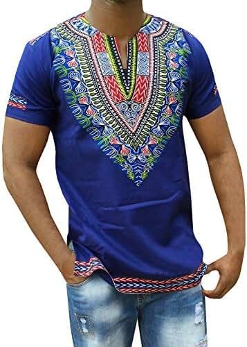 Makkrom Men's African Bright Dashiki Tribal Floral Shirt Variety