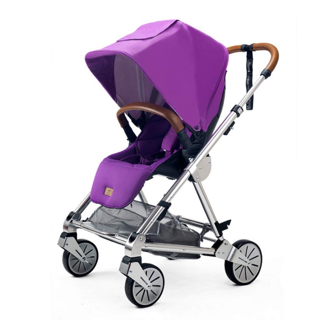 ZCY Pushchair,fold Light Baby Child Trolley Aluminum Alloy Mosquito Net Two-Way Implementation (Color : Purple)