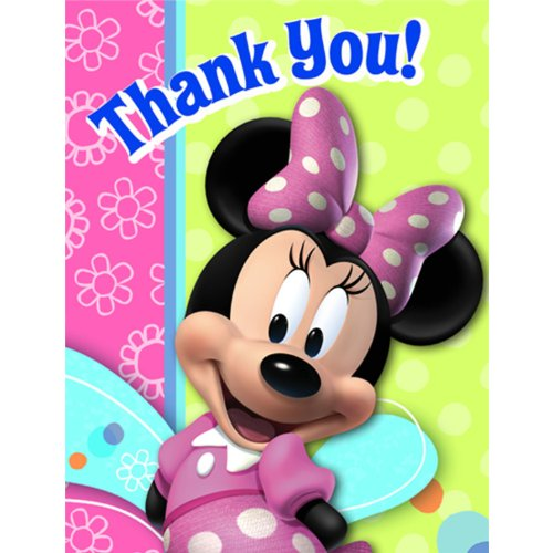 Disney Thank You Cards (Minnie Mouse 'Bow-Tique' Thank You Notes w/ Envelopes)