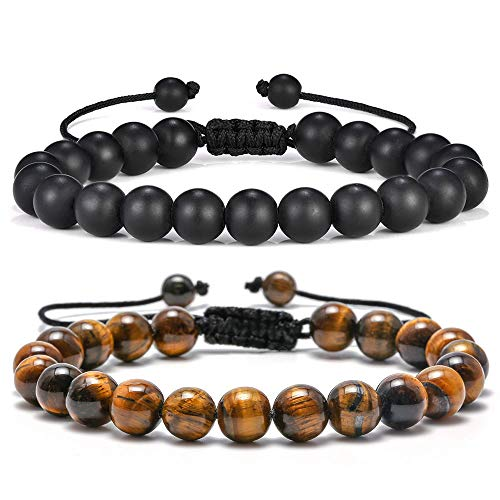 M MOOHAM Mens Bracelet Giftsfor Grandfather - 8mm Tiger Eye Black Matte Agate Mens Anxiety Bracelets, Stress Relief Yoga Beads Adjustable Bracelet Dad GITS Father's Gifts Grandpa Gifts for Men