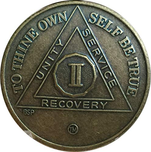 2 Year Antique Bronze AA Medallion Alcoholics Anonymous Sobriety Chip