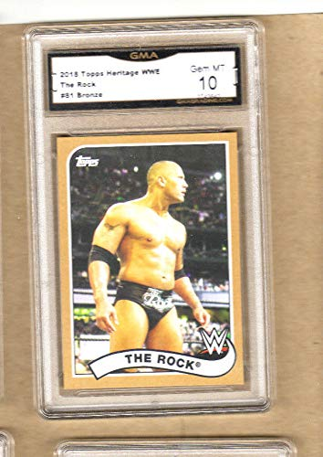 (The Rock - 2018 WWE Topps Heritage Card-Bronze Version-Graded-10/10 GEM Mint)