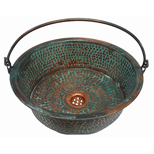 12 inches Oxidized Aged Green Pan Vessel Pure Copper Bathroom Bucket Sink (Copper Antique Pans)