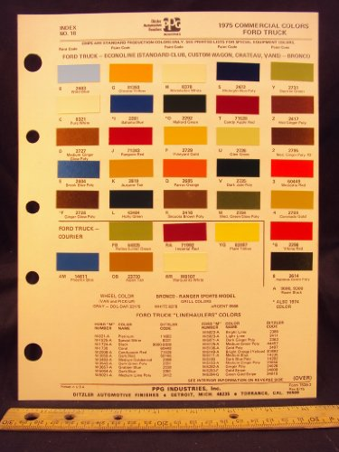 1975 FORD Truck, Econoline Van (Standard Club, Custom Club, Chateau), & Bronco Paint Colors Chip Page