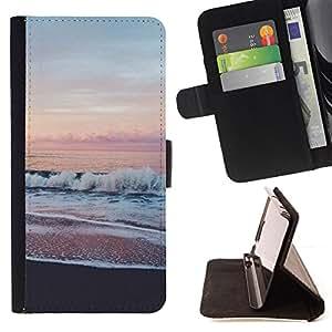 PINK SKY HORIZON OCEAN SEA BEACH VIEW/ Personalizada del estilo del dise???¡Ào de la PU Caso de encargo del cuero del tir????n del soporte d - Cao - For Samsung Galaxy S4 Mini i9190
