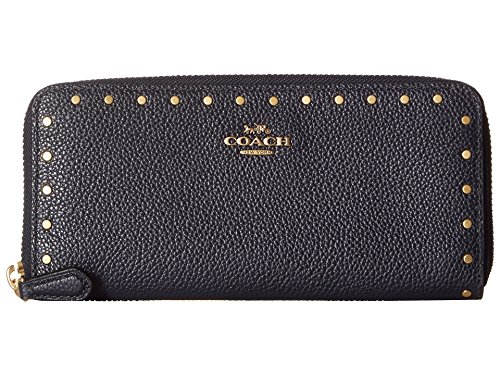 COACH Women's Slim Accordion Zip with Rivets B4/Midnight Navy One Size