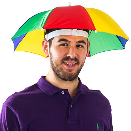 Funny Party Hats Umbrella Hat - Fishing Umbrella Hat for Kids and Adults - Elastic, Rainbow Colors ()