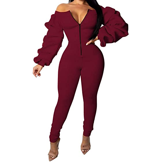bbd10e524269 Amazon.com  Women Rompers Outfit Off Shoulder Long Sleeve Front Zipper  Bodycon Jumpsuit Long Pants Ruffle Bodysuit  Clothing