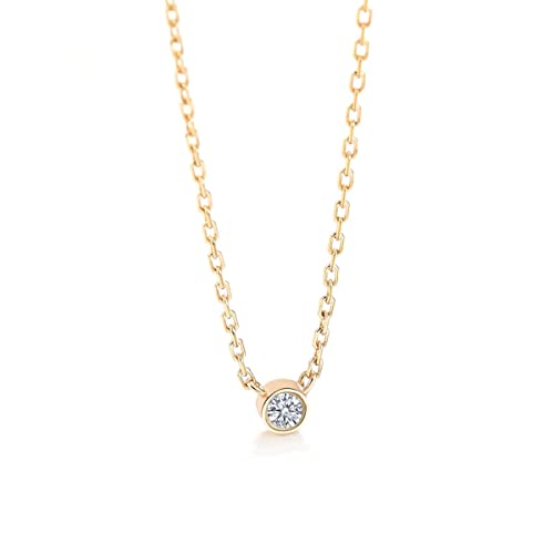 7ab15839d 925 Sterling Silver Solitaire Necklace Gold Plated Pendant Necklace with  Sparkling Rhinestone for Women Girls Jewelry