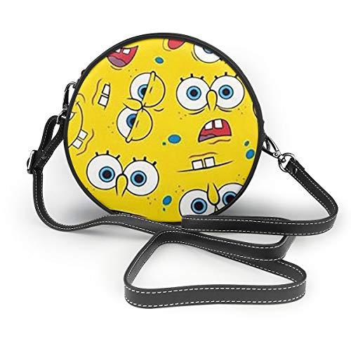 Women's Leatherwear Cute SpongeBob SquarePants Print Round Crossbody Shoulder Bag Top Handle Tote Handbag Bag - 7.1 X 7.1 X 2.36 Inch
