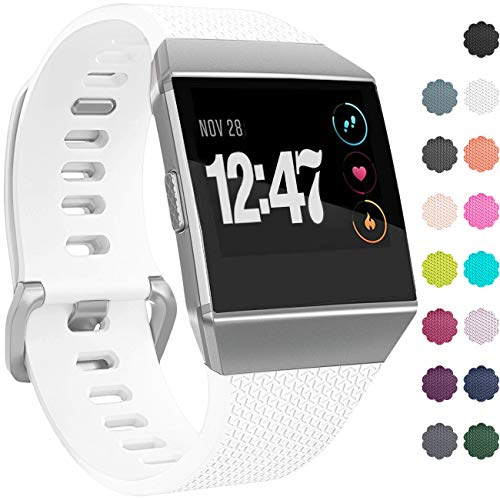 Wepro Bands Compatible with Fitbit Ionic SmartWatch, Watch Replacement Sport Strap for Women Men Kids, Buckle, Small, White